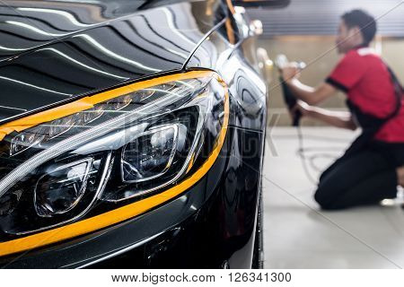Car detailing series : Polishing black luxury car