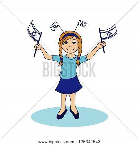 Girl holding the israeli flags. Vector illustration