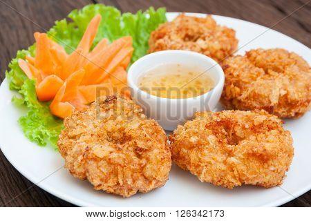 Fried shrimp cake Thai food in restaurant