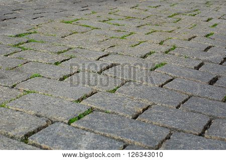 road paved with setts, paving-stone, stone road