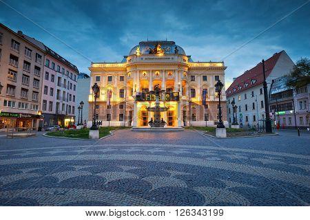 BRATISLAVA, SLOVAKIA - APRIL 18, 2016: National theatre in Hviezdoslav square in the old town of Bratislava on April 18, 2016.