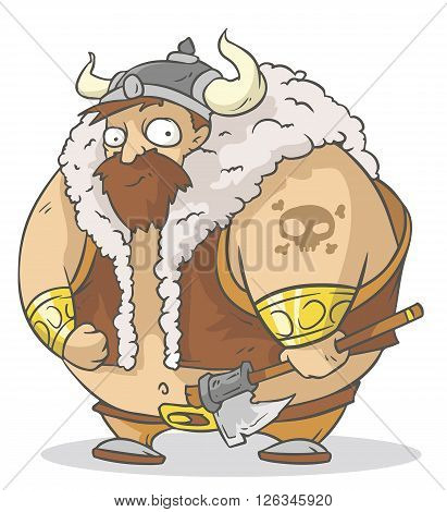 A vector illustration of funny cartoon viking