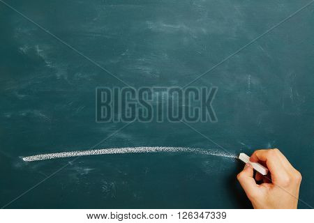 Hand with chalk drawing a white line on a green chalkboard