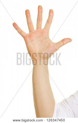 Hand with five raised fingers isolated on white