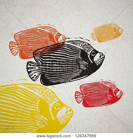 Vector Emperor angelfish in abstract composition. Linocut fishes in different colours on the old paper