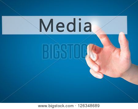 Media  - Hand Pressing A Button On Blurred Background Concept On Visual Screen.