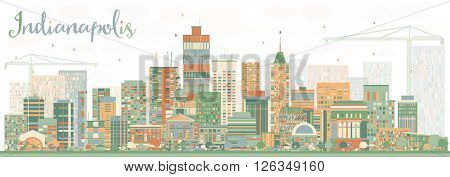 Abstract Indianapolis Skyline with Color Buildings. Vector Illustration. Business Travel and Tourism Concept with Modern Buildings. Image for Presentation Banner Placard and Web Site.