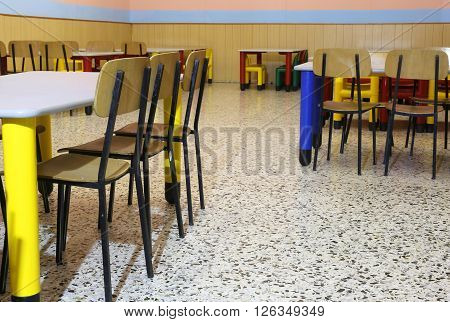 Chairs In The Refectory Of The Nursery With Chairs And Small Dining Table