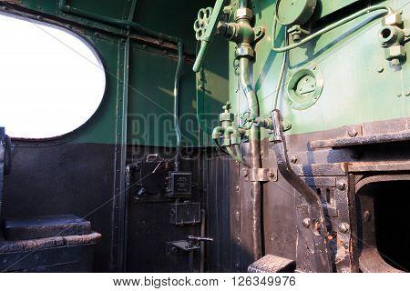 Details Of A Vintage Steam Train Driving Cabin. Darjeeling Train.