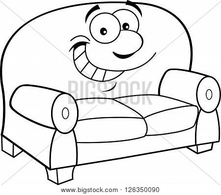 Black and white illustration of a smiling couch.