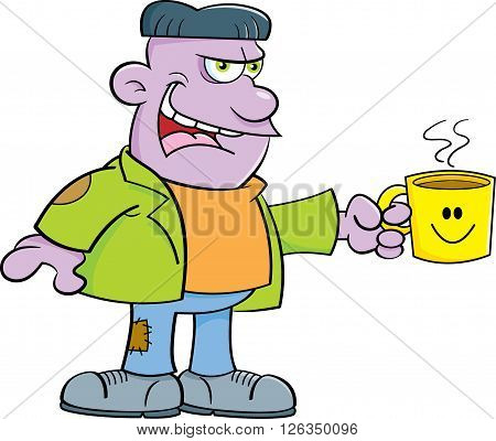 Cartoon illustration of a monster holding a coffee cup.