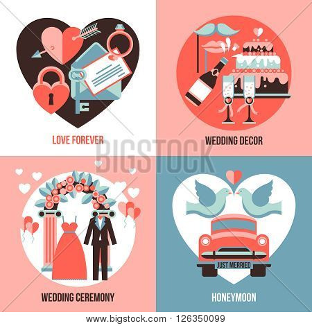Love forever honeymoon wedding ceremony and wedding decor abstract compositions flat 2x2 set vector illustration