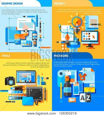 Graphic design concept icons set with project and packaging symbols flat isolated vector illustration
