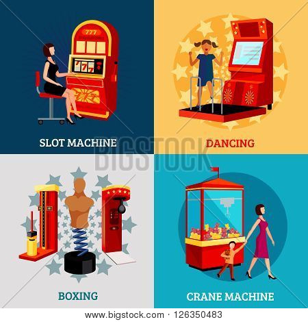 Game machine 2x2 design concept with slot dancing boxing and crane machines flat vector illustration