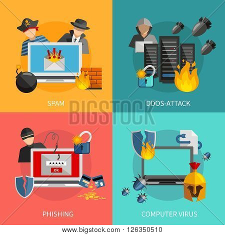 Hacker 2x2 flat design concept with spam phishing ddos attack and computer viruses threats for computer systems icons compositions vector illustration
