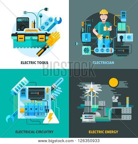 Electricity concept icons set with electric tools and energy symbols flat isolated vector illustration