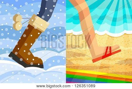 Legs of walking person. One foot in winter shoe on snow and snowdrifts background another foot in slipper on beach and sea background in sunshine. Step from winter to summer concept