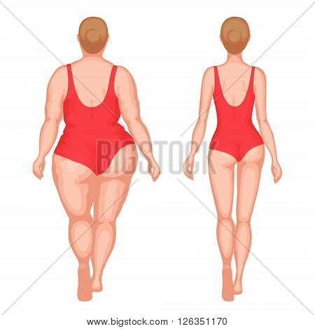 Obese woman and slender woman dressed in red swimsuits. Back view. Healthy lifestyle and unhealthy lifestyle concept