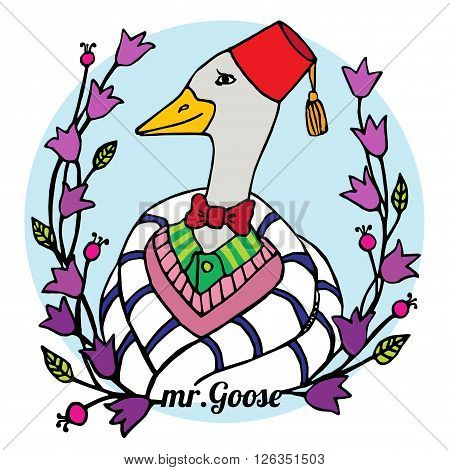 colorful cartoon portrait character of an smart goose clothing in the fez and bowtie vector illustration