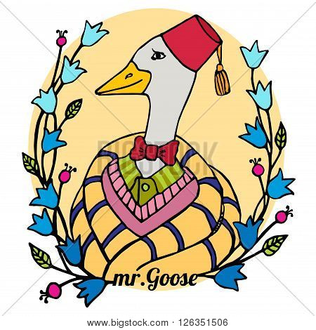 colorful cartoon portrait character of an intelligent goose clothing in the fez and bowtie vector illustration