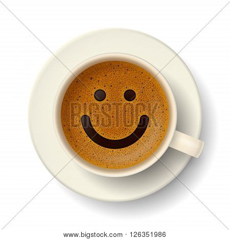 Coffee cup with cute smiling face on frothy surface. Good mood and vivacity for active day