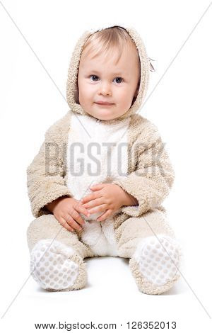 Cute baby in plush costume, isolated over white
