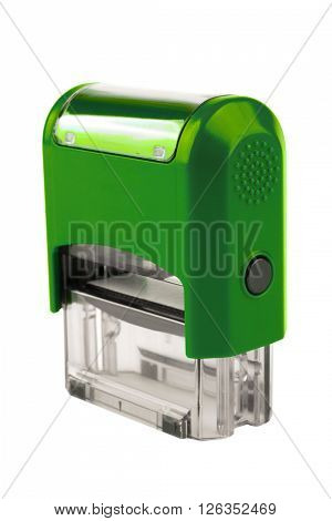 Hand Rectangular Automatic Stamp, A Brilliant Green Color.
