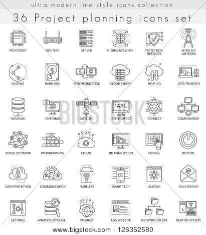 Vector Network technology ultra modern outline line icons for web and apps