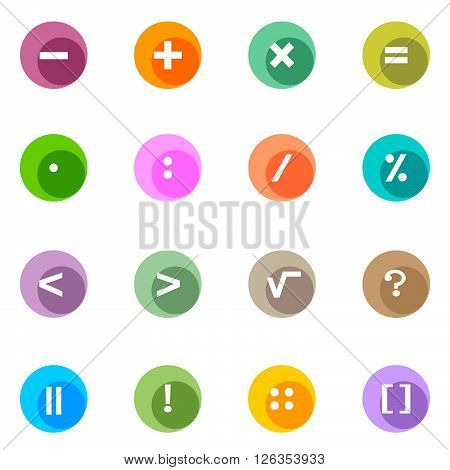 icon punctuation. A set of color icons with punctuation signs
