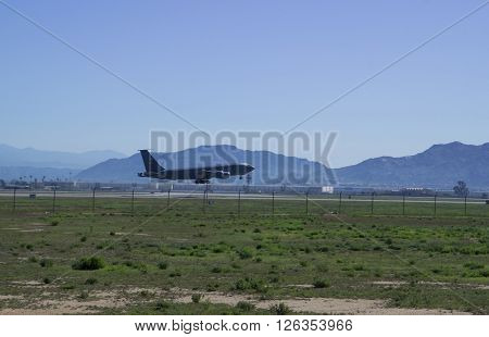 MARCH AIR BASE CALIFORNIA USA - MARCH 17: KC-135 Stratotanker take-off from airport March Riverside