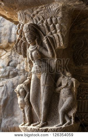 Carving in Ellora caves near Aurangabad, Maharashtra state in India