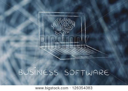 Laptop With Circuit Brain On Screen, Business Software