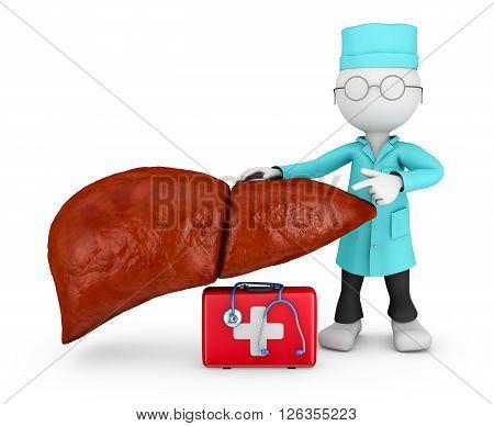 doctor explores the human liver 3D illustration
