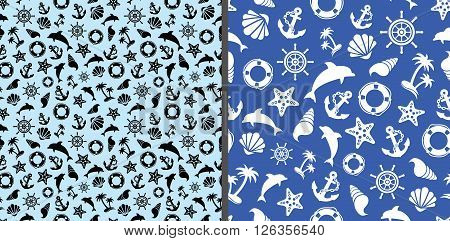two summer sea patterns, summer pattern, sea pattern, beach pattern, summer seamless pattern, summer symbols, summer icons, sea symbols, sea icons, ocean pattern, vacation pattern, summer background