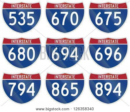 Collection Of Interstate Highway Shields Used In The Us