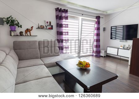 Modern living room interior with canvas on the wall. Photos on canvas are available in my gallery.