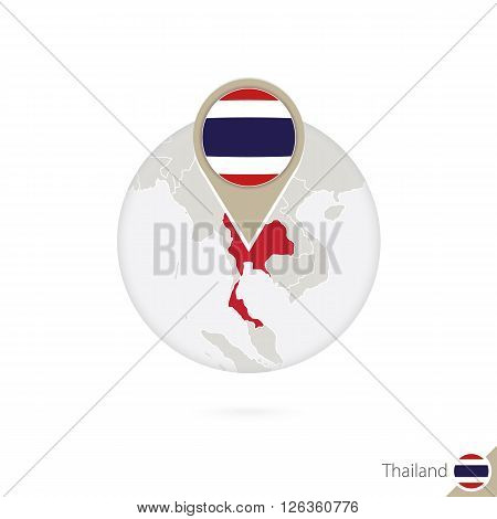 Thailand Map And Flag In Circle. Map Of Thailand, Thailand Flag Pin. Map Of Thailand In The Style Of