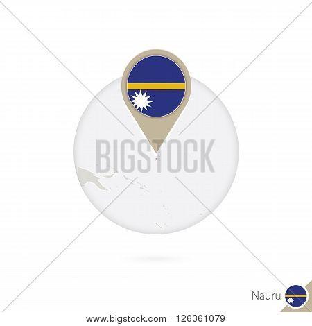 Nauru Map And Flag In Circle. Map Of Nauru, Nauru Flag Pin. Map Of Nauru In The Style Of The Globe.