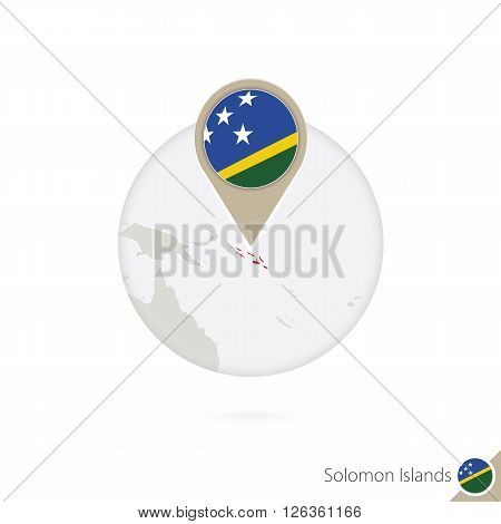 Solomon Islands Map And Flag In Circle. Map Of Solomon Islands, Solomon Islands Flag Pin. Map Of Sol