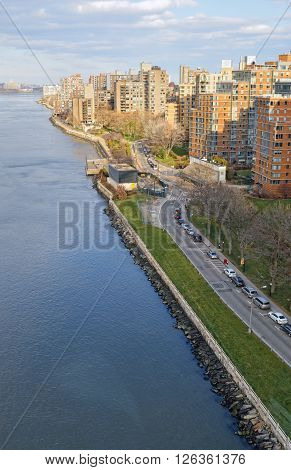 View of East River from the Roosevelt Island Tramway.