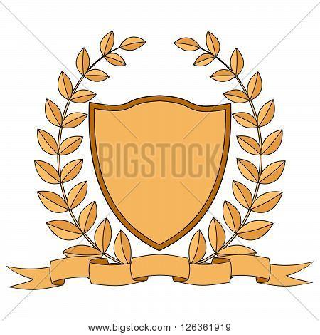 Heraldry. Shield, ribbon, laurel wreath. Vector Image.