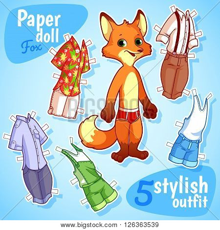 Very cute paper doll with five stylish outfits. Fox on a blue background. Vector cartoon illustration.