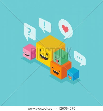 Isometric family square emoticons colorful emoji with communication speech bubbles