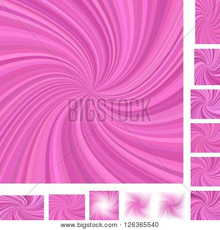 Pink vector spiral design background set. Different color,  paper size versions.