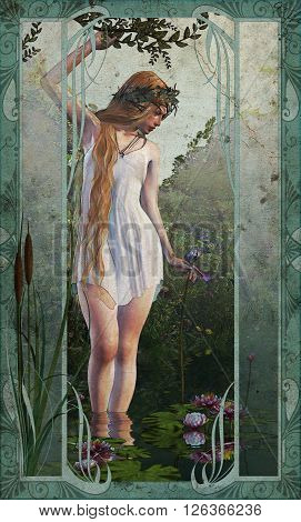 3d computer graphics of a girl who stands in shallow water with water lilies