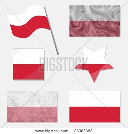 Flags of Poland Made in Different Variations: in Flat Design with Fabric Texture and as Web Buttons