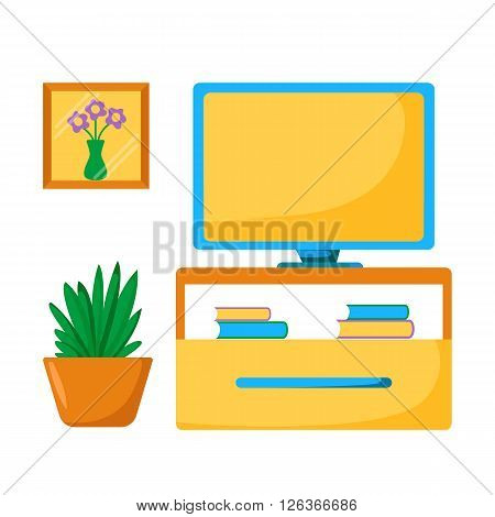 Vector tv room illustration. Home relaxing with tv room concept. living room interior: tv screen houseplant furniture. Cartoon indoor television room. Living room interior design with tv place