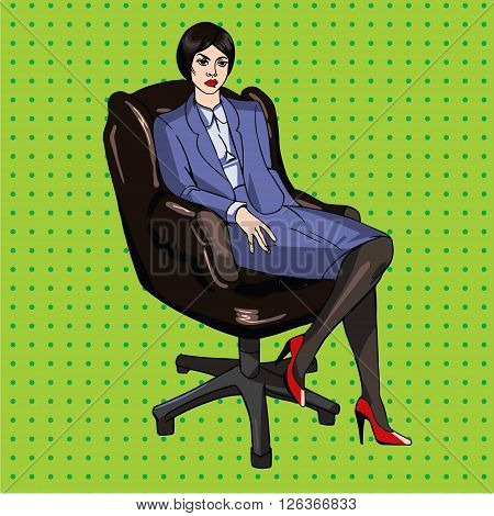Vector image in pop art style with lady boss in office chair