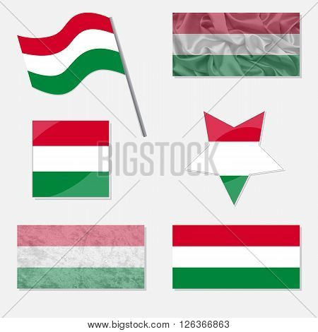 Flags of Hungary Made in Different Variations: in Flat Design with Fabric Texture and as Web Buttons