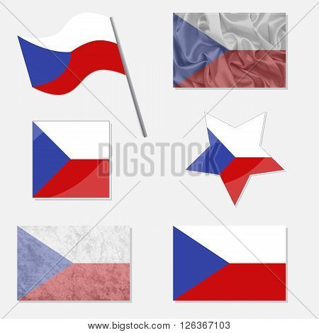 Flags of Czech Republic Made in Different Variations: in Flat Design with Fabric Texture and as Web Buttons